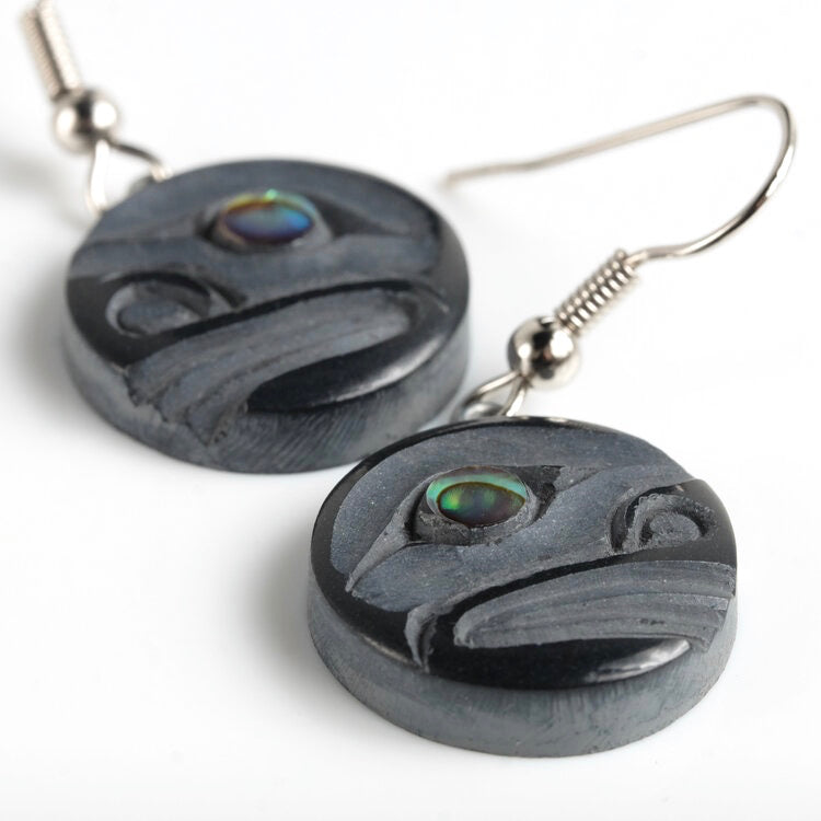 black argillite moon earrings