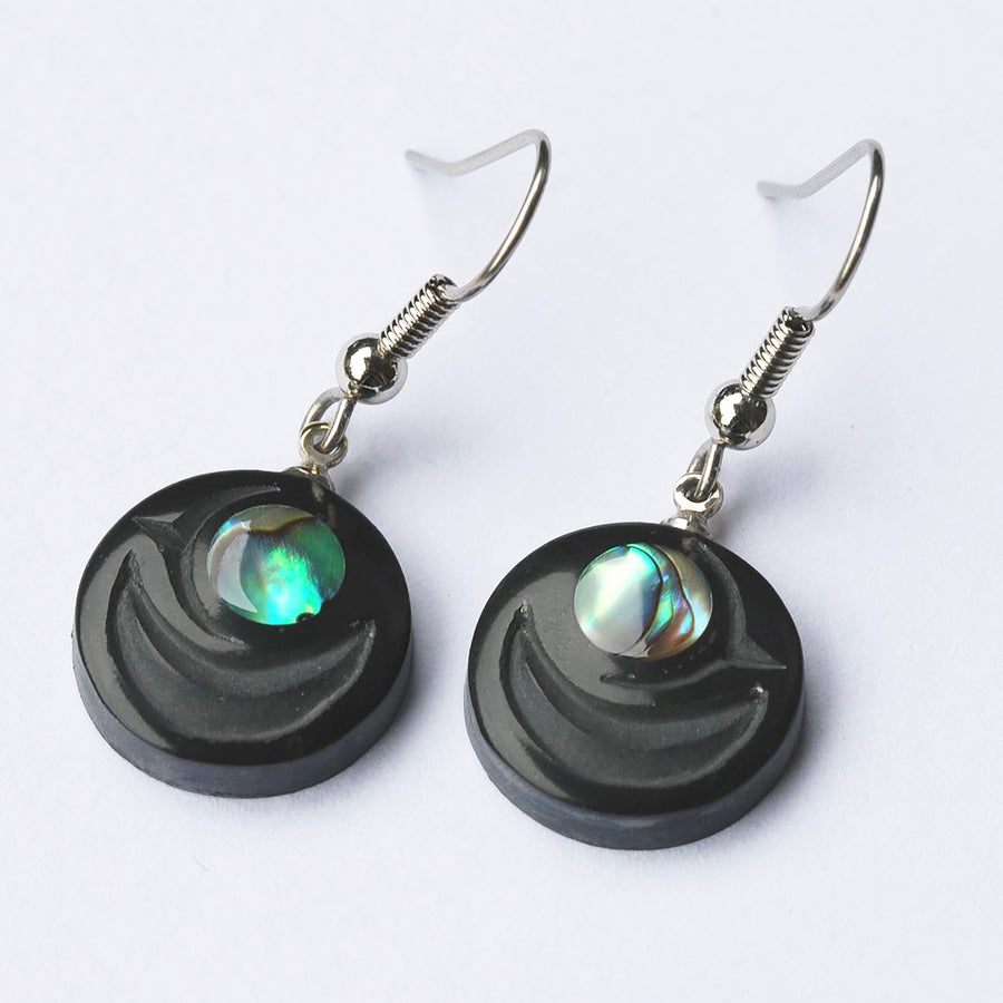 Argillite Salmon Egg Earrings