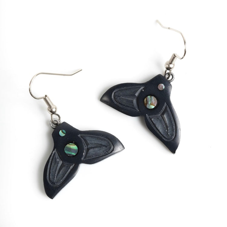 Haida Argillite Whale Tail Earrings