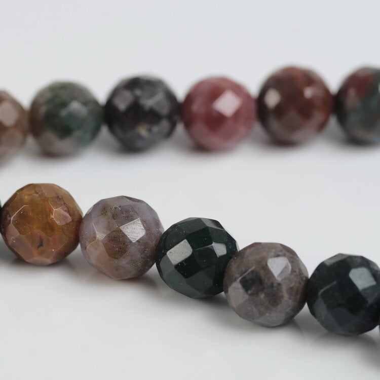 Faceted Fancy Jasper Bead Necklace Chakra Energy Metaphysical Crystal Healing