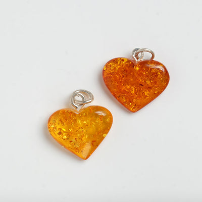 Amber Heart Pendant Necklace Healing Crystal Gemstone Baltic Poland