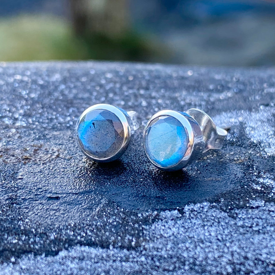 Labradorite Silver Stud Earrings