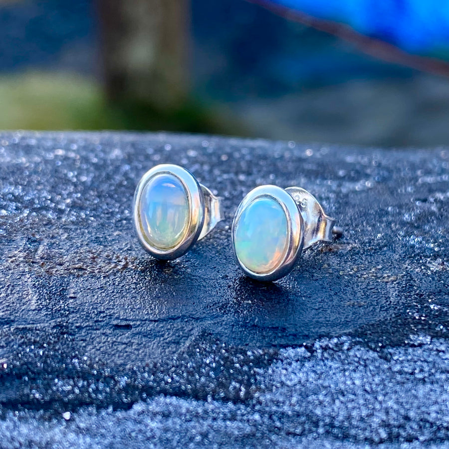 Ethiopian Opal Sterling Silver Crystal Healing Chakra Earrings sold by Crystal Cabin.
