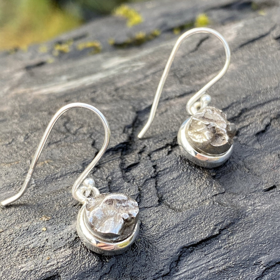 Campo del Cielo Meteorite Sterling Silver Crystal Healing Chakra Star Stone Dangle Earrings sold by Crystal Cabin.