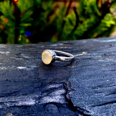 Local Agate Sterling Silver Ring Crystal Healing Energy Stone Chakra Grounding from Haida Gwaii, British Columbia, Canada sold by Crystal Cabin.