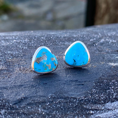 Turquoise Sterling Silver Crystal Healing Energy Chakra Earrings sold by Crystal Cabin.