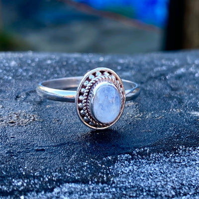 Moonstone Sterling Silver Ring Crystal Healing Energy Stone Chakras sold by Crystal Cabin.