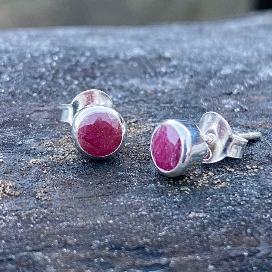 Ruby Sterling Silver Crystal Healing Chakra Stud Earrings sold by Crystal Cabin.