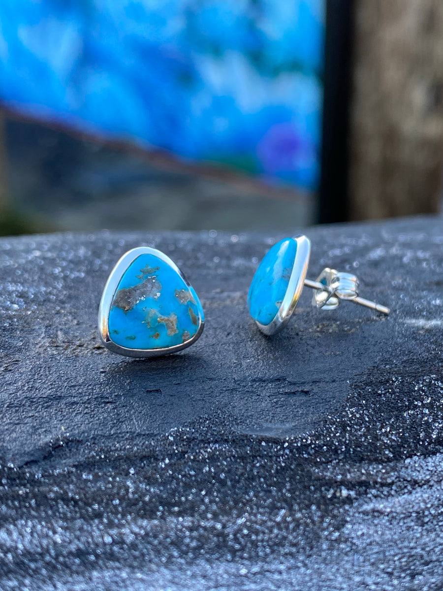 Turquoise Silver Stud Earrings