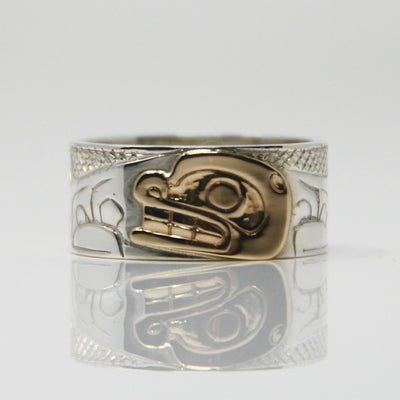 14K Gold Haida Orca Killer Whale on Silver Ring