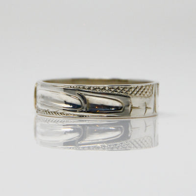 Gold Haida Raven on Silver Ring