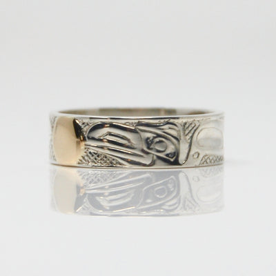14K Gold Haida Raven Steals the Light on Silver Ring