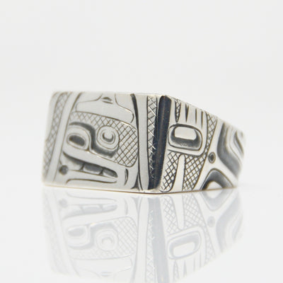 Silver Diamond Tsimshian Human Ring