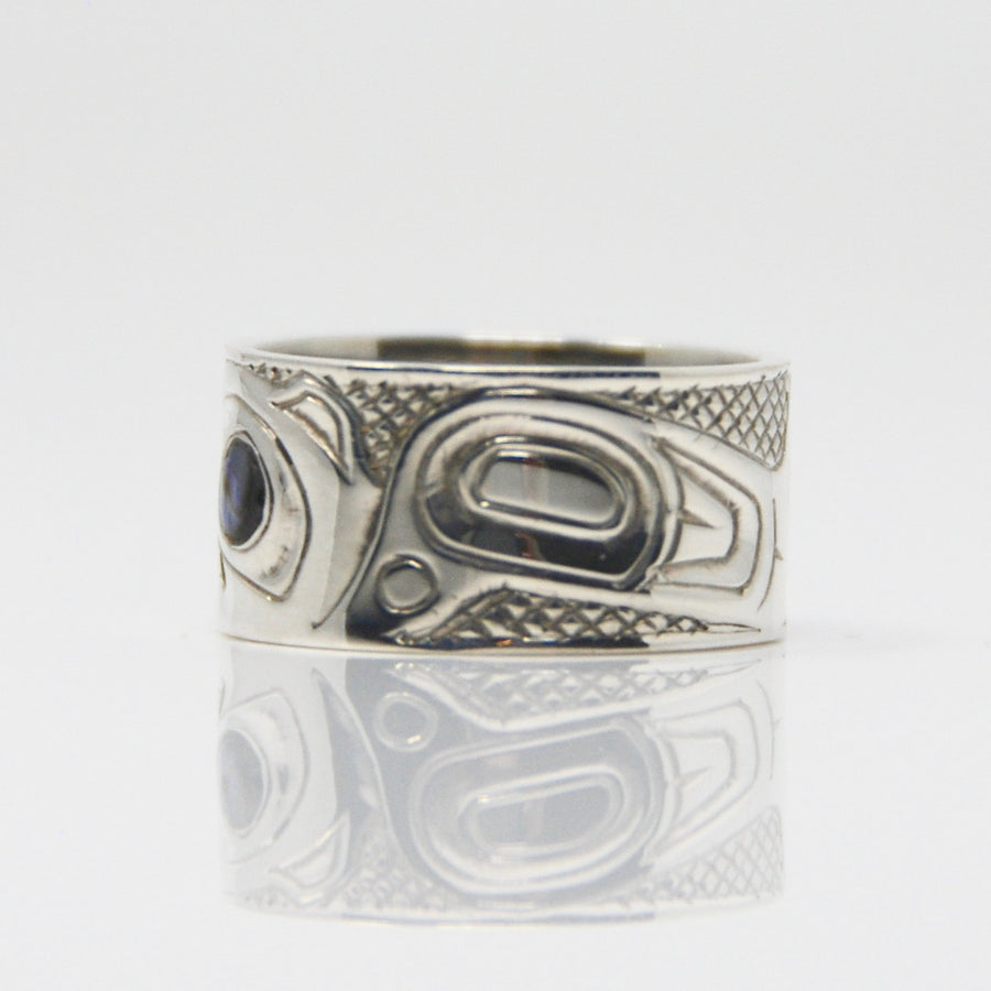 Silver Haida Hummingbird with Abalone Ring