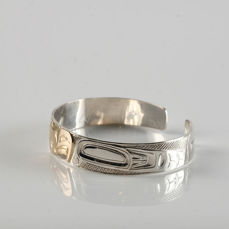 Gold Haida Eagle on Silver Bracelet