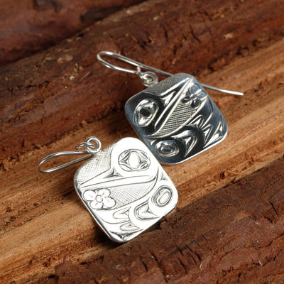 Silver Haida Hummingbird Square Earrings