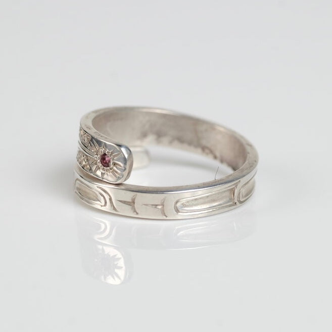 Silver & Ruby Haida Hummingbird Wrap Ring