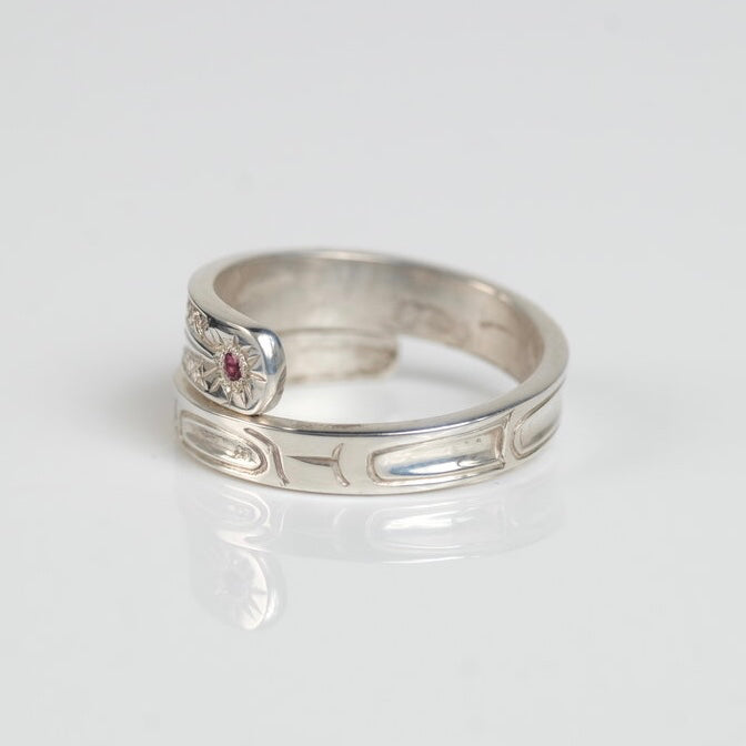 Silver & Pink Tourmaline Hummingbird Wrap Ring