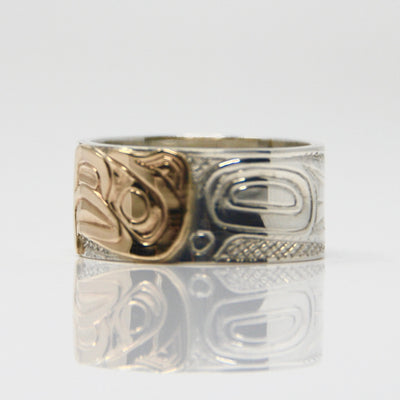 Wide 14K Gold Eagle & Silver Ring