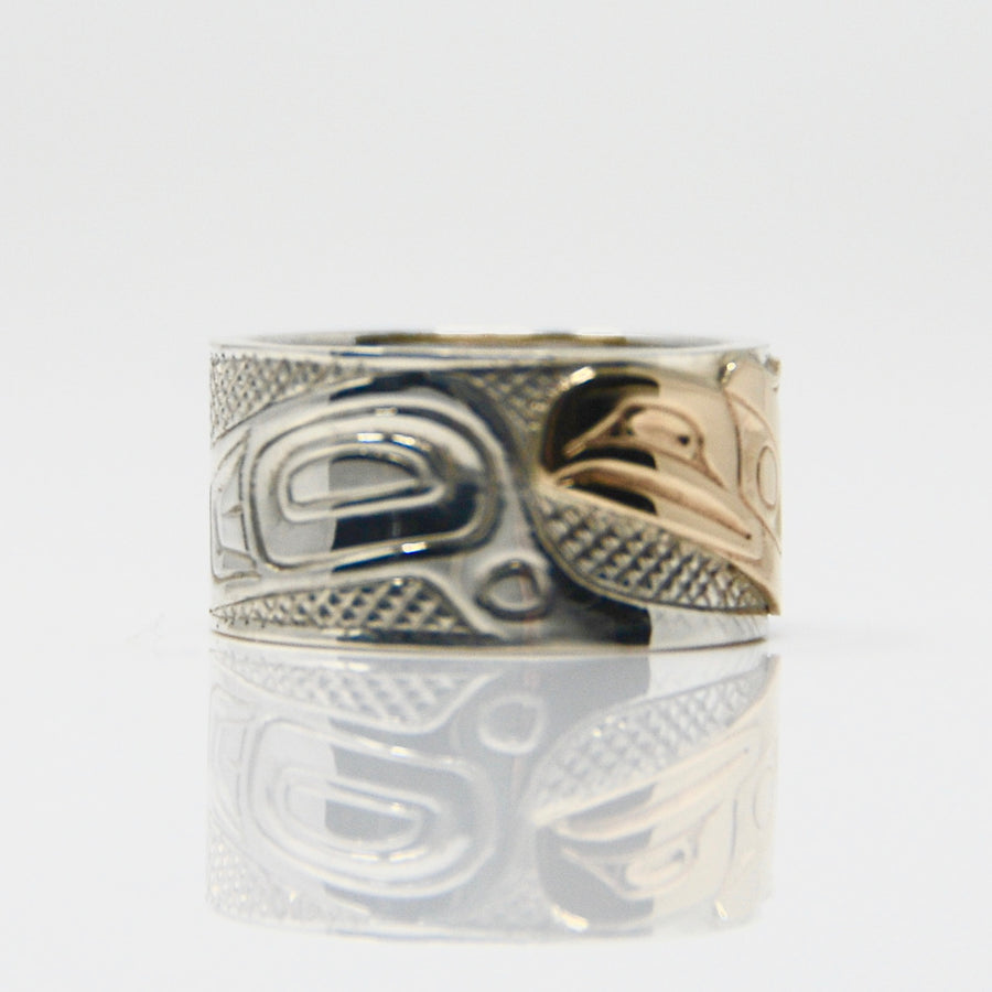 Wide 14K Gold Raven on Silver Ring