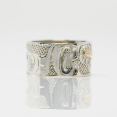 Gold Haida Hummingbird on Silver Ring