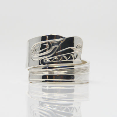 Silver Orca Killer Whale Wrap Ring