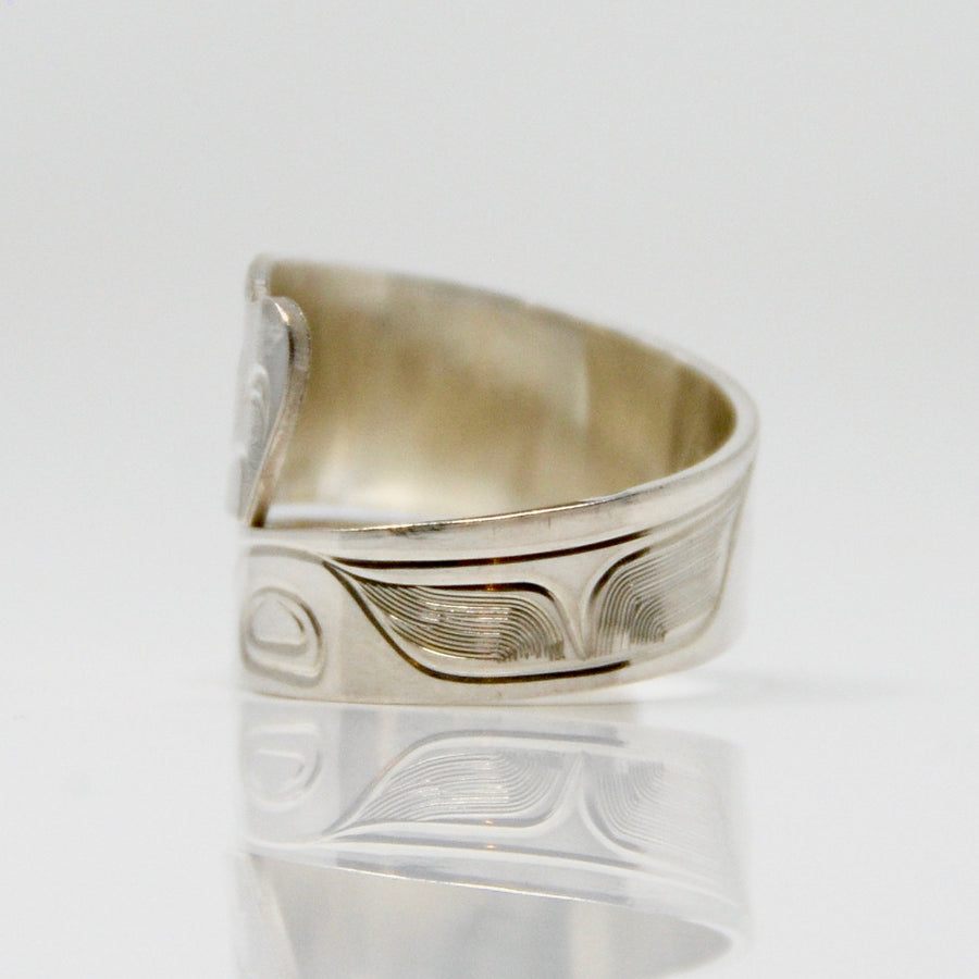 Wide Silver Killer Whale Orca Wrap Ring