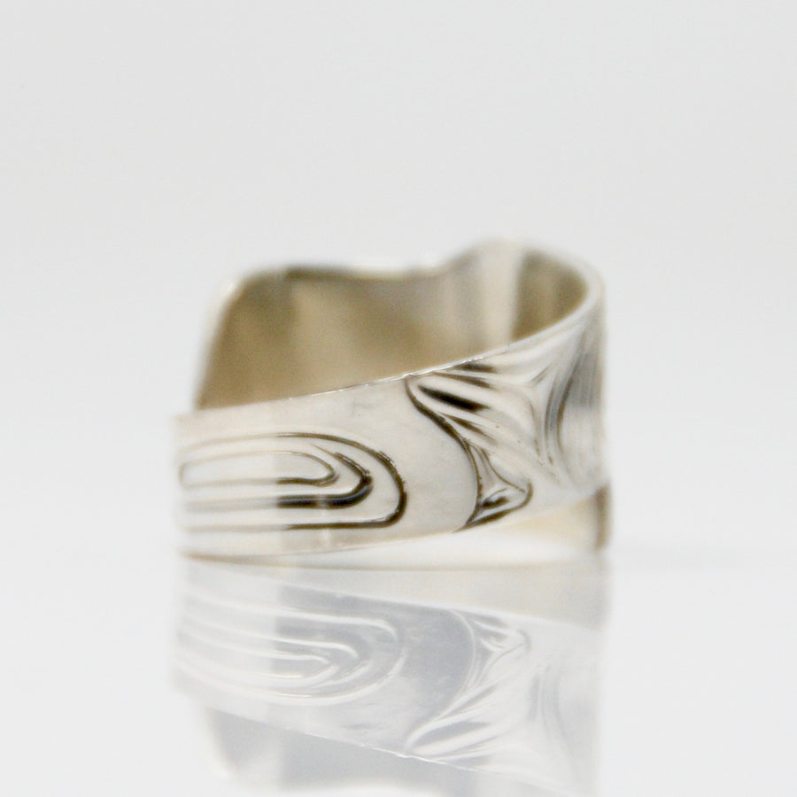Wide Silver Raven Wrap Ring