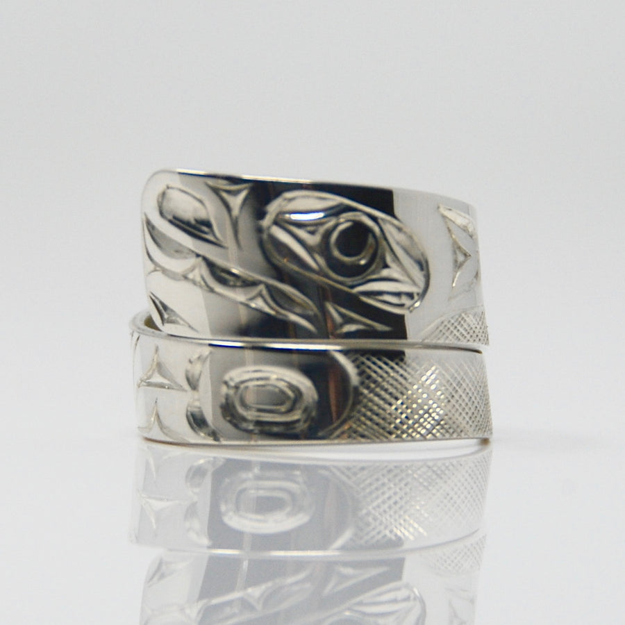 Wide Silver Wolf Wrap Ring