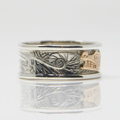 14K Gold Haida Wolf on Silver Ring