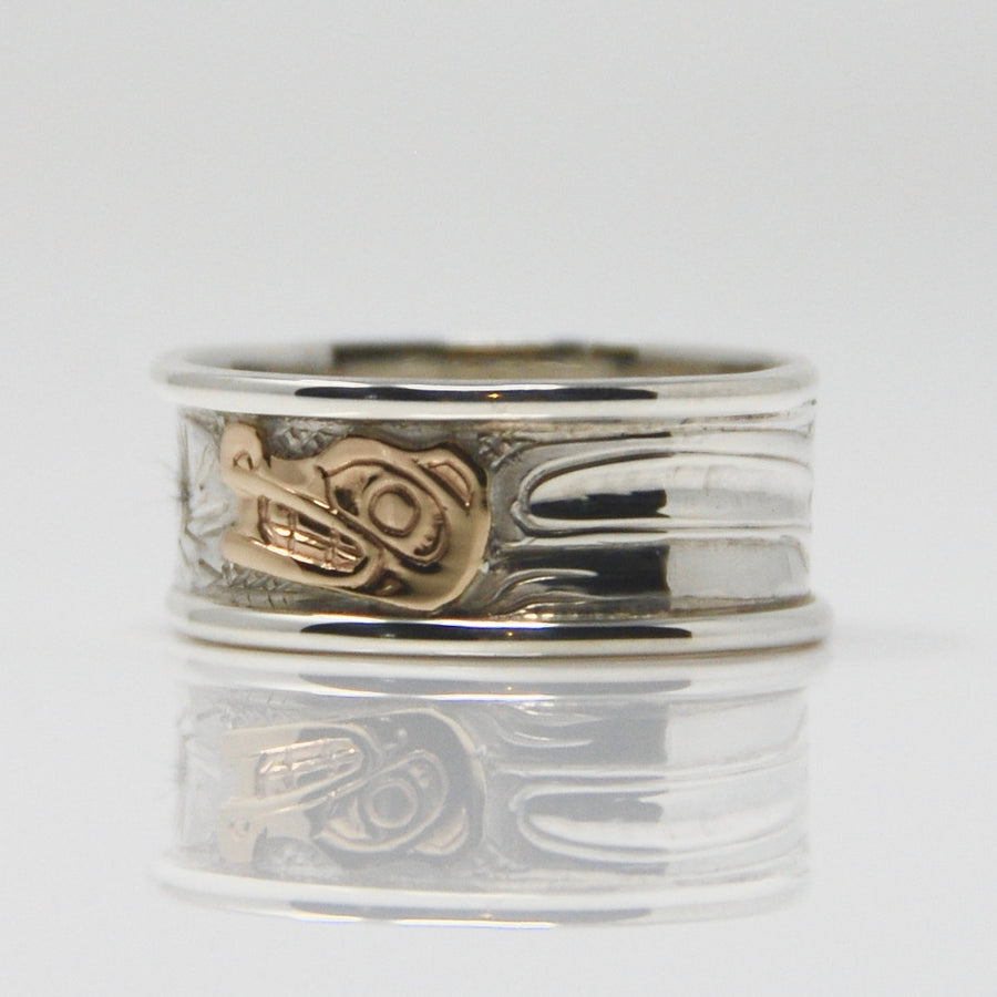 Gold Wolf on Silver Ring with Round Wire