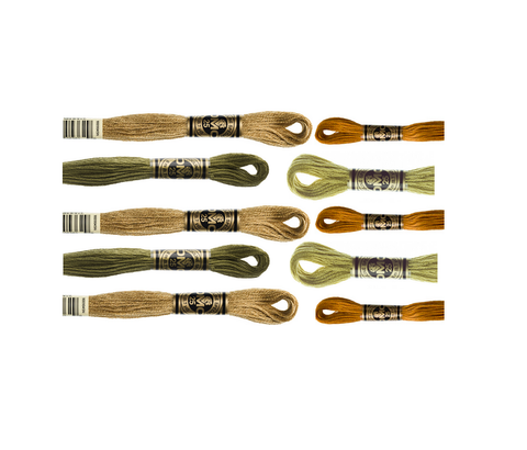 DMC Hand Embriodery Floss - KHAKI/OLIVE/GOLD