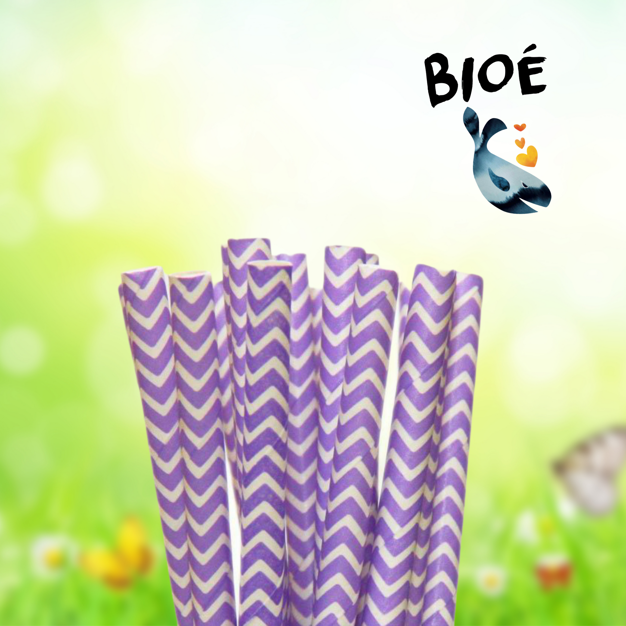 Cannucce di carta flex ø6 mm 19,7 cm Chevron Viola e bianco 100 und