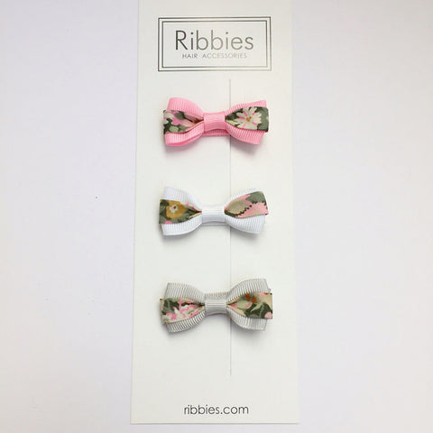 Set of 3 Liberty Bows - Thorpe Pastel Pink