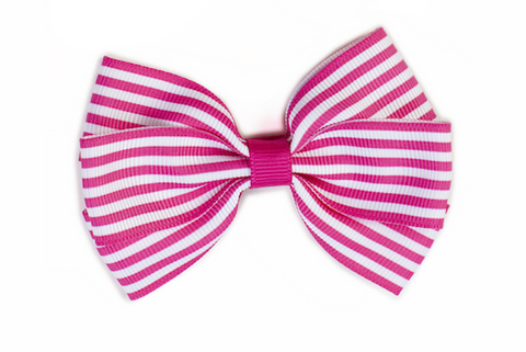Stripe Bow - Hot Pink & White