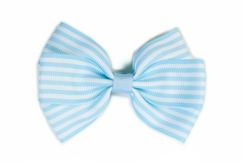 Stripe Bow - Blue & White