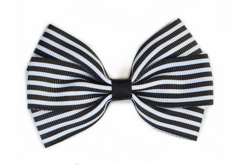 Stripe Bow - Black & White