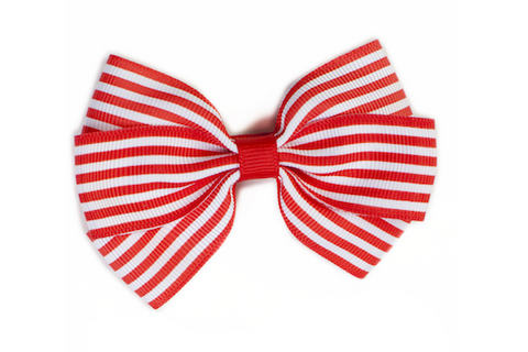Stripe Bow - Red & White