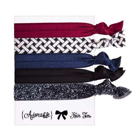 Set of 5 Hair Ties - Black & Burgundy