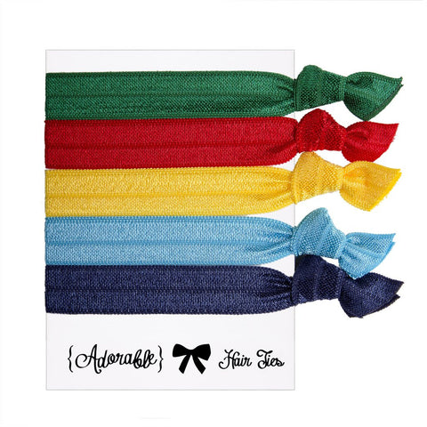 Set of 5 Hair Ties - Bright Colours