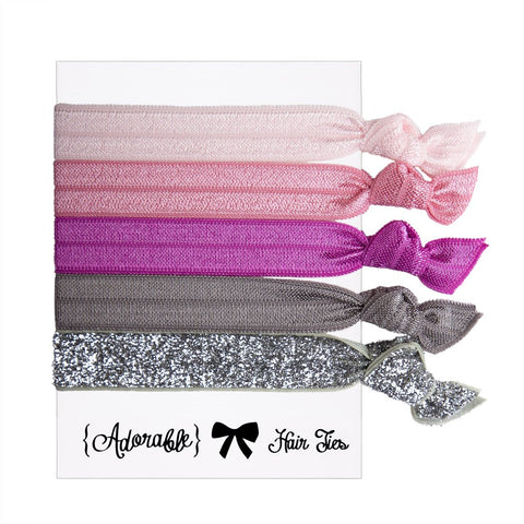 Set of 5 Hair Ties - Silver & Pink