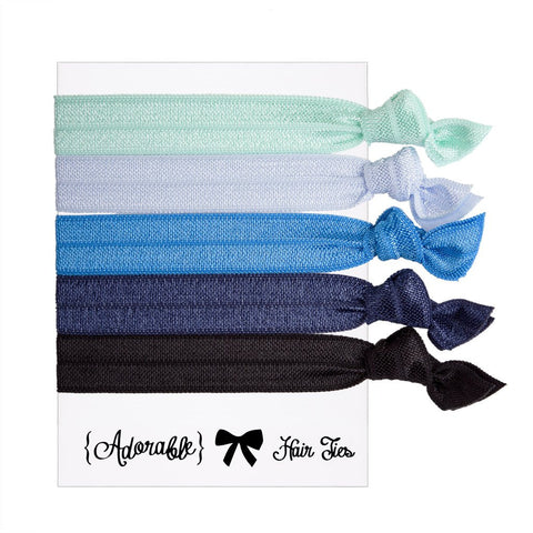 Set of 5 Hair Ties - Blue
