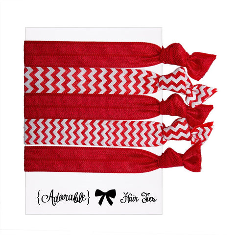 Set of 5 Hair Ties - Red Chevrons