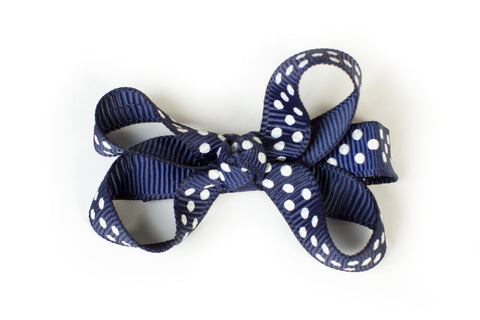 Small Navy Dotted Bow