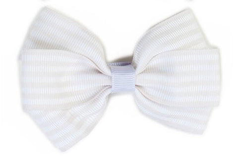 Stripe Bow - Beige & White