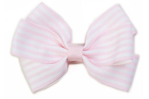 Stripe Bow - Pastel Pink & White