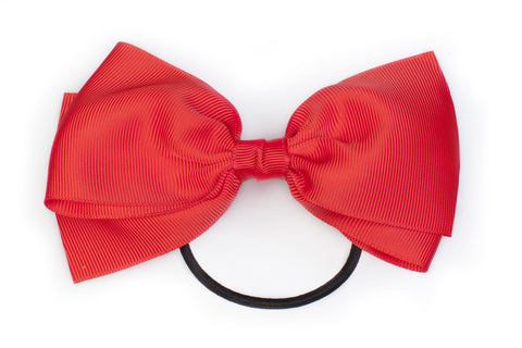 Large Bow Ponytail Holder - Red