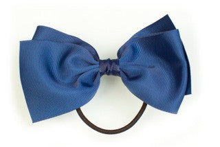 Large Bow Ponytail Holder - Navy Blue