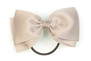 Large Bow Ponytail Holder - Grey