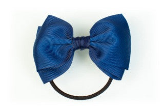 Medium Bow Ponytail Holder - Navy Blue